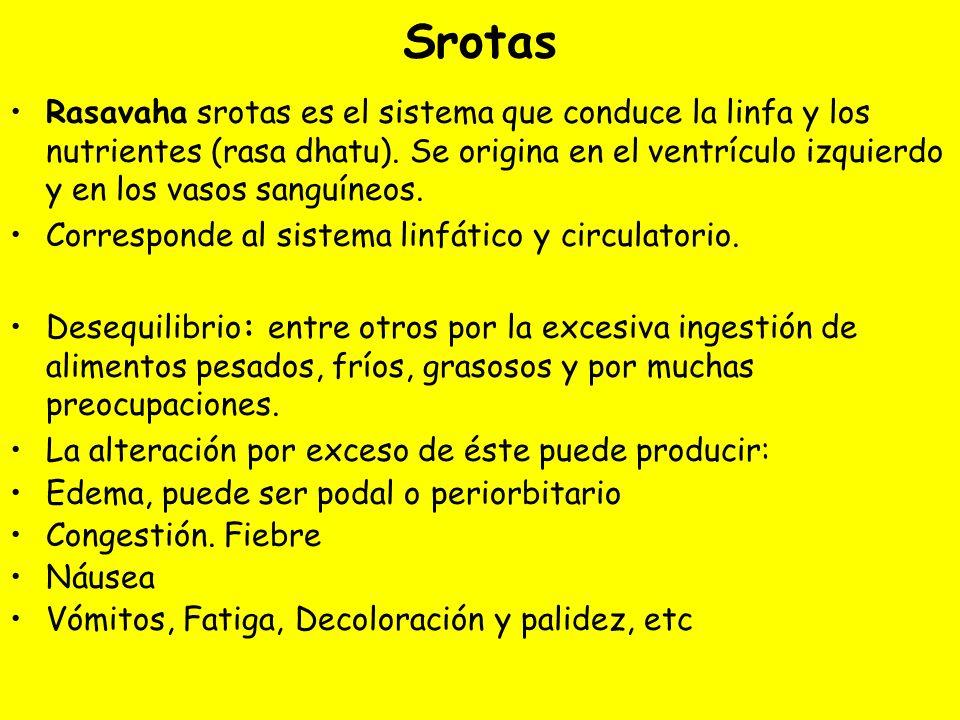 Srotas Rasavaha srotas es el sistema que conduce la linfa y los nutrientes (rasa dhatu).