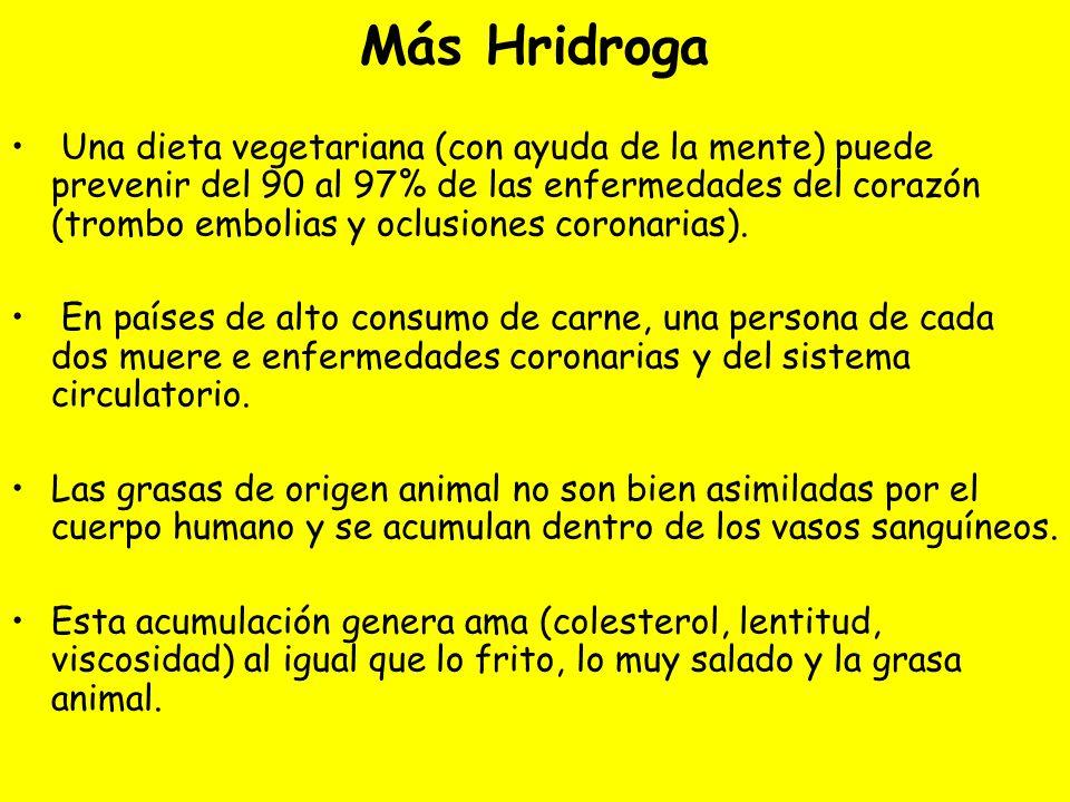 Más Hridroga Una dieta vegetariana (con ayuda de la mente) puede prevenir del 90 al 97% de las enfermedades del corazón (trombo embolias y oclusiones coronarias).