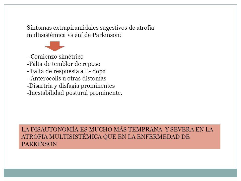 Síntomas extrapiramidales sugestivos de atrofia multisistémica vs enf de Parkinson: - Comienzo simétrico -Falta de temblor de reposo - Falta de respue