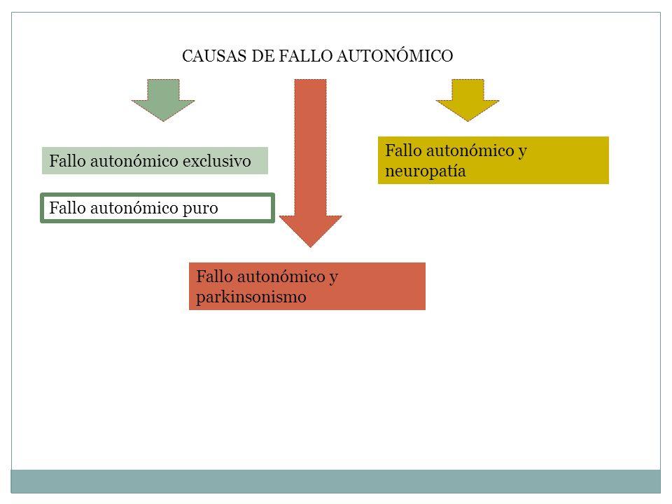 CAUSAS DE FALLO AUTONÓMICO Fallo autonómico exclusivo Fallo autonómico y parkinsonismo Fallo autonómico y neuropatía Fallo autonómico puro
