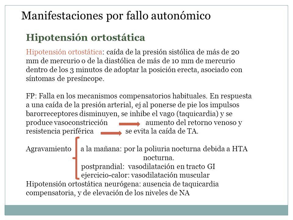 Manifestaciones por fallo autonómico Hipotensión ortostática: caída de la presión sistólica de más de 20 mm de mercurio o de la diastólica de más de 1