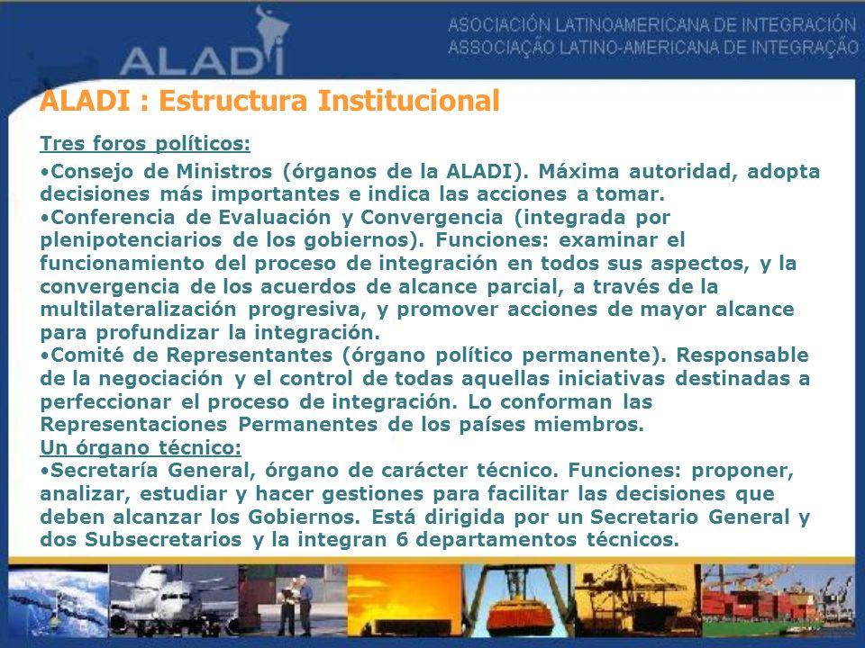 ALADI : Estructura Institucional Tres foros políticos: Consejo de Ministros (órganos de la ALADI). Máxima autoridad, adopta decisiones más importantes