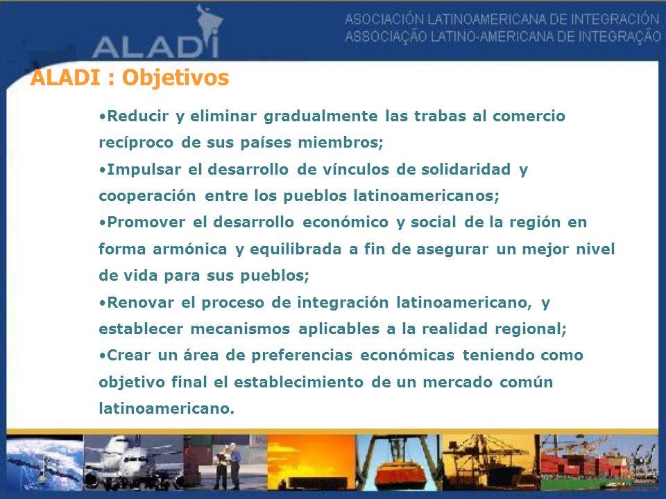 ALADI : Objetivos Reducir y eliminar gradualmente las trabas al comercio recíproco de sus países miembros; Impulsar el desarrollo de vínculos de solid