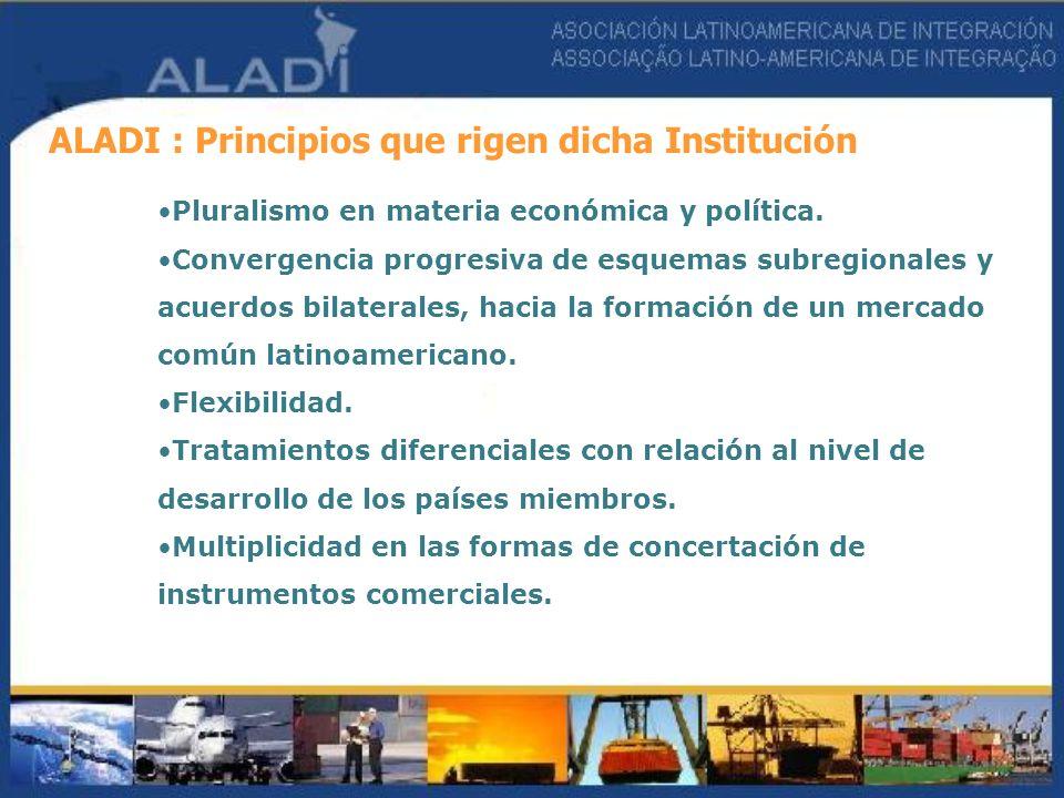 ALADI : Principios que rigen dicha Institución Pluralismo en materia económica y política. Convergencia progresiva de esquemas subregionales y acuerdo