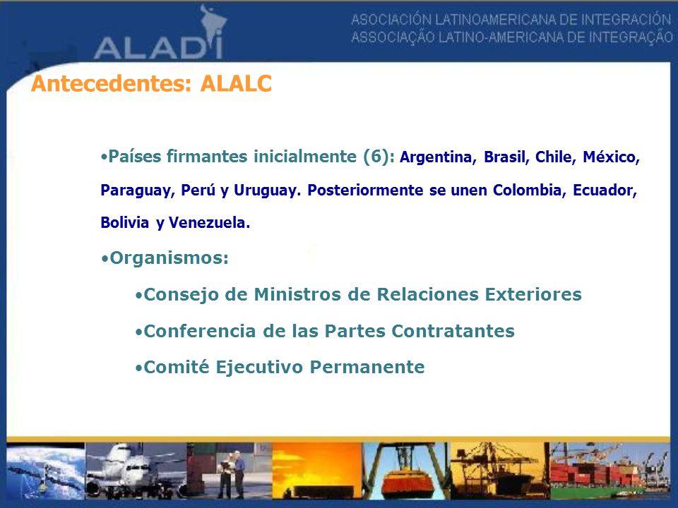 Antecedentes: ALALC Países firmantes inicialmente (6): Argentina, Brasil, Chile, México, Paraguay, Perú y Uruguay. Posteriormente se unen Colombia, Ec