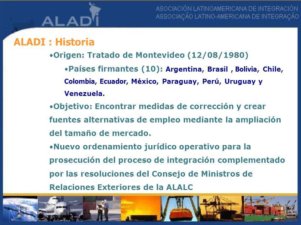 ALADI : Historia Origen: Tratado de Montevideo (12/08/1980) Países firmantes (10): Argentina, Brasil, Bolivia, Chile, Colombia, Ecuador, México, Parag