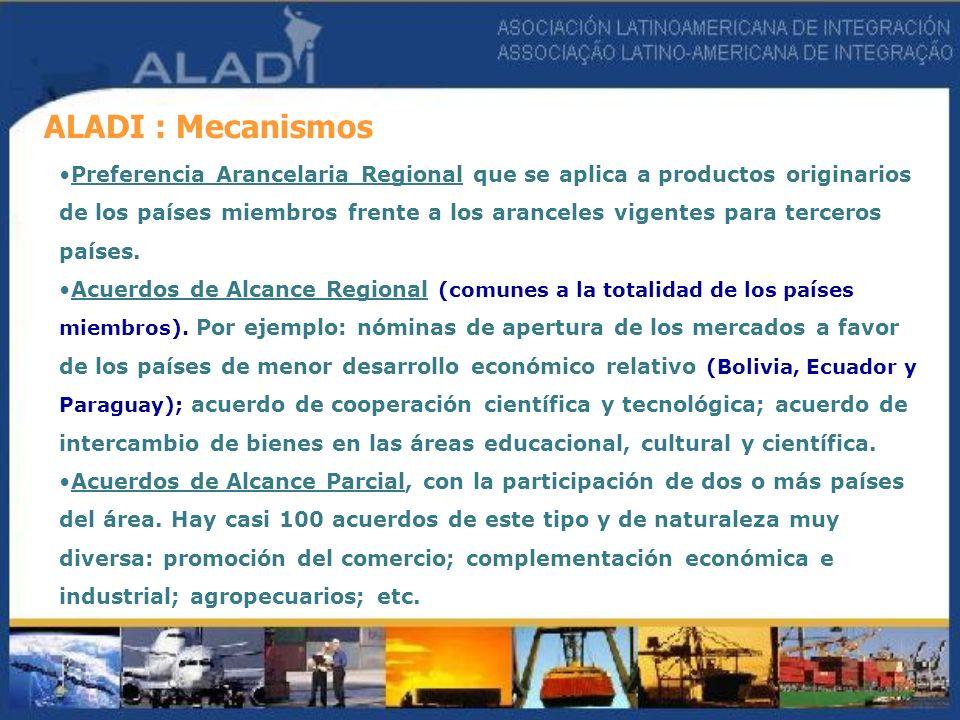 ALADI : Mecanismos Preferencia Arancelaria Regional que se aplica a productos originarios de los países miembros frente a los aranceles vigentes para