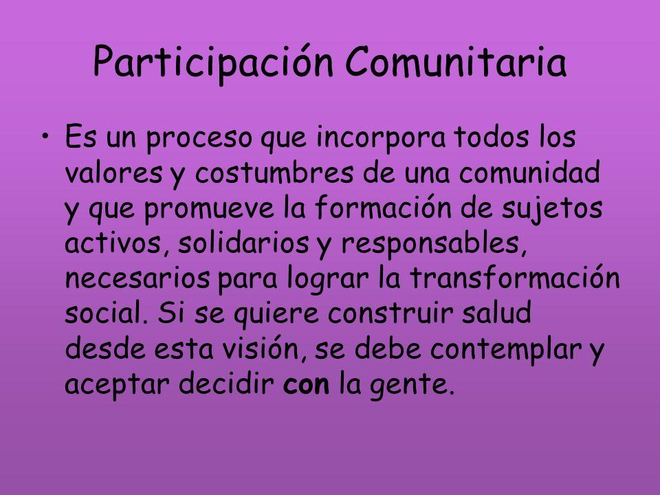 Participación Comunitaria Es un proceso que incorpora todos los valores y costumbres de una comunidad y que promueve la formación de sujetos activos,
