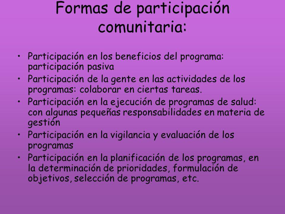 Formas de participación comunitaria: Participación en los beneficios del programa: participación pasiva Participación de la gente en las actividades d