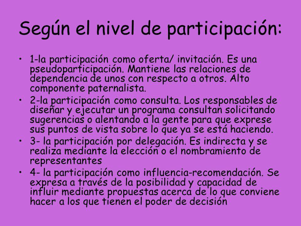 Según el nivel de participación: 1-la participación como oferta/ invitación. Es una pseudoparticipación. Mantiene las relaciones de dependencia de uno