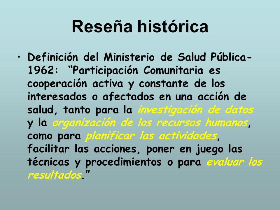 Reseña histórica Definición del Ministerio de Salud Pública- 1962: Participación Comunitaria es cooperación activa y constante de los interesados o af