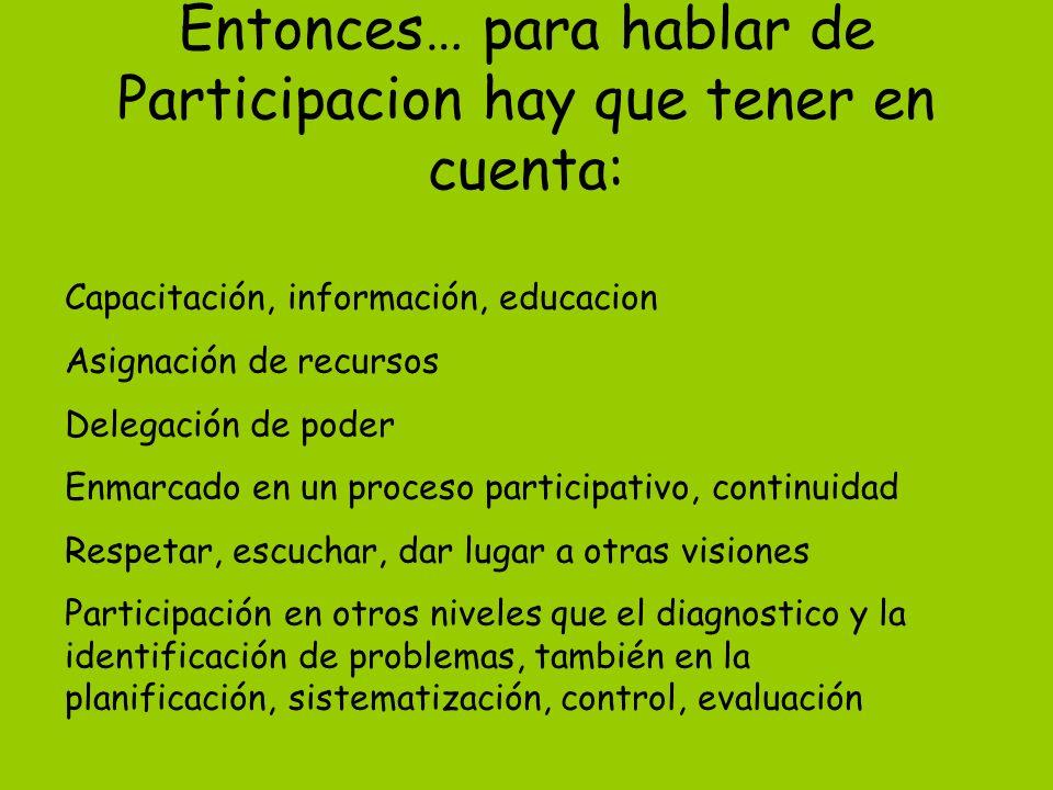Entonces… para hablar de Participacion hay que tener en cuenta: Capacitación, información, educacion Asignación de recursos Delegación de poder Enmarc