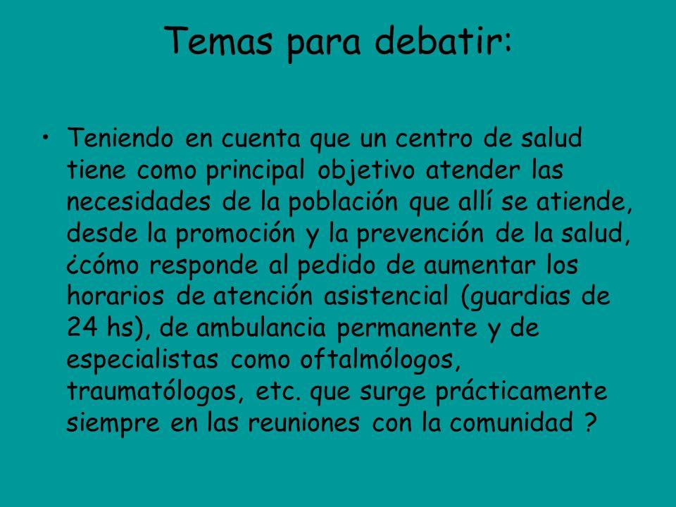 Temas para debatir: Teniendo en cuenta que un centro de salud tiene como principal objetivo atender las necesidades de la población que allí se atiend