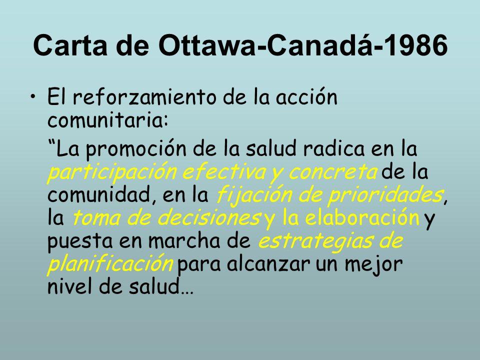 Carta de Ottawa-Canadá-1986 El reforzamiento de la acción comunitaria: La promoción de la salud radica en la participación efectiva y concreta de la c