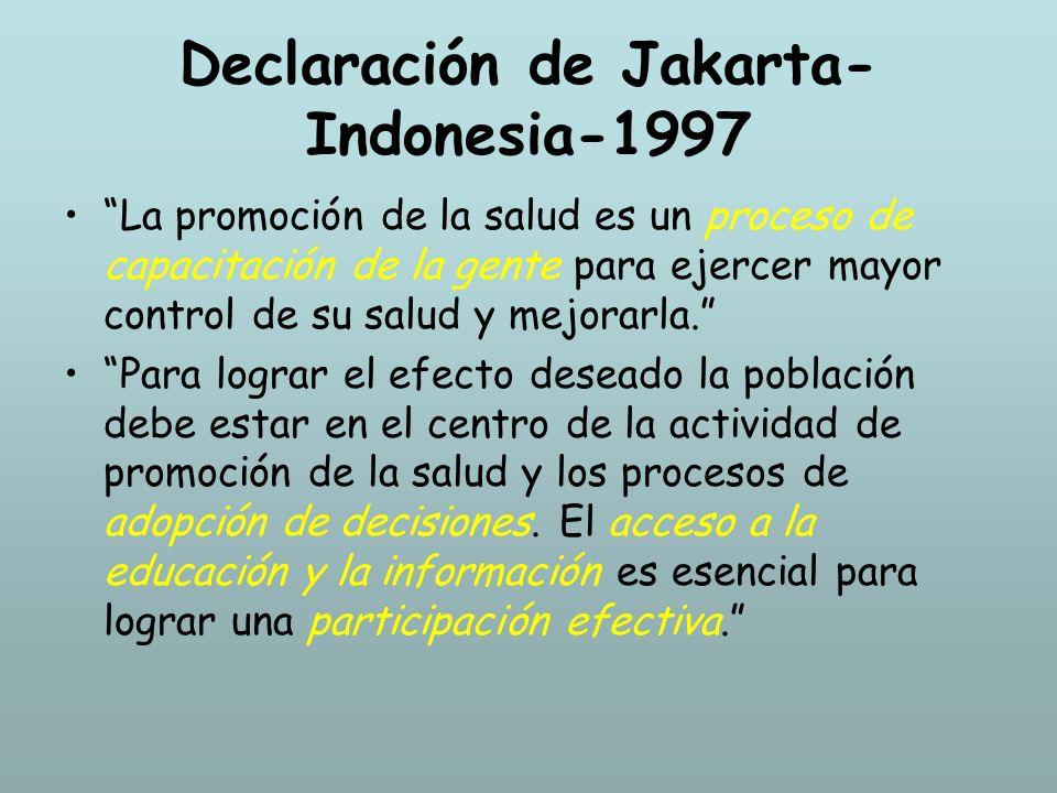 Declaración de Jakarta- Indonesia-1997 La promoción de la salud es un proceso de capacitación de la gente para ejercer mayor control de su salud y mej