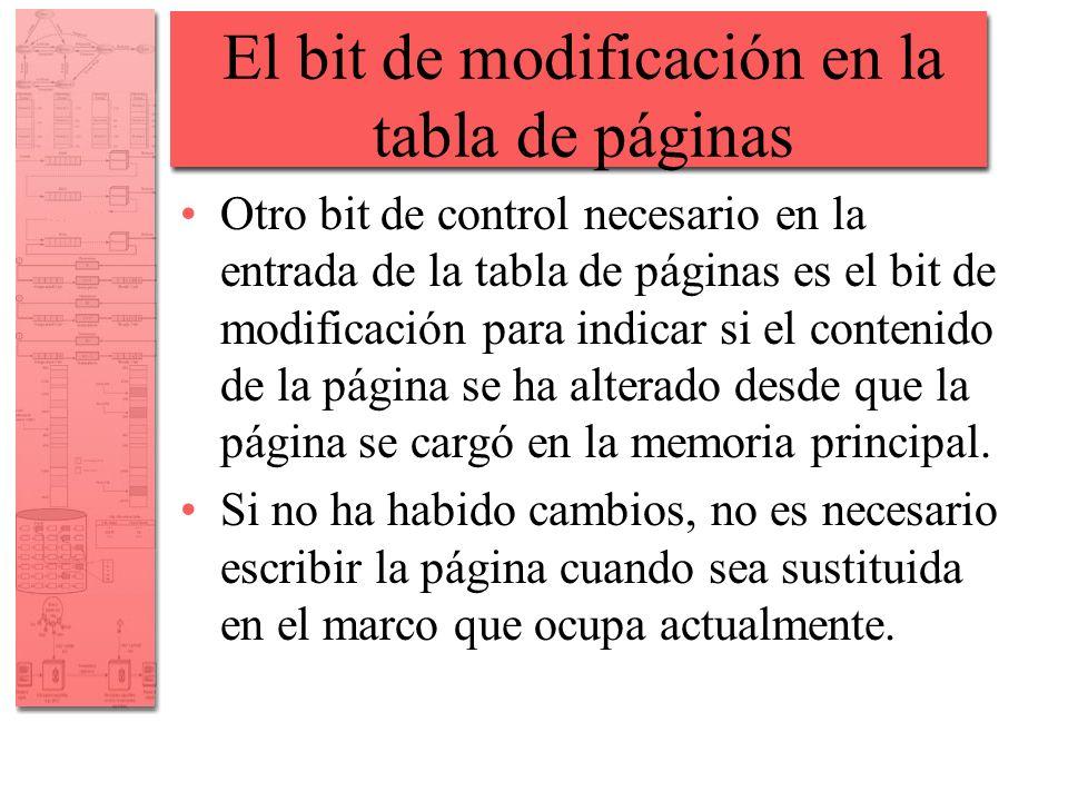 El bit de modificación en la tabla de páginas Otro bit de control necesario en la entrada de la tabla de páginas es el bit de modificación para indica
