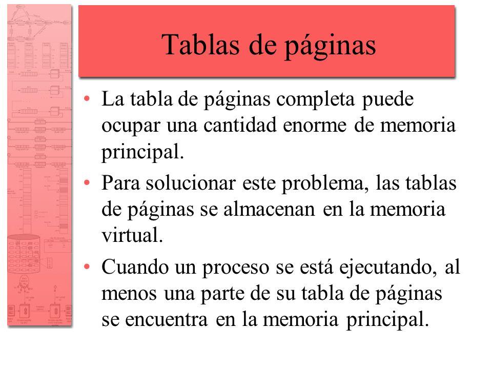 Tablas de páginas La tabla de páginas completa puede ocupar una cantidad enorme de memoria principal. Para solucionar este problema, las tablas de pág