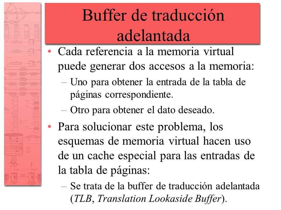 Buffer de traducción adelantada Cada referencia a la memoria virtual puede generar dos accesos a la memoria: –Uno para obtener la entrada de la tabla