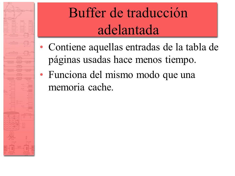 Buffer de traducción adelantada Contiene aquellas entradas de la tabla de páginas usadas hace menos tiempo. Funciona del mismo modo que una memoria ca