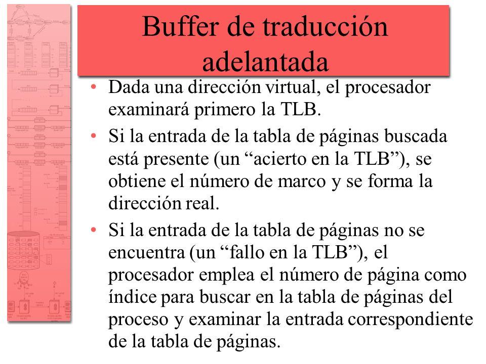 Buffer de traducción adelantada Dada una dirección virtual, el procesador examinará primero la TLB. Si la entrada de la tabla de páginas buscada está