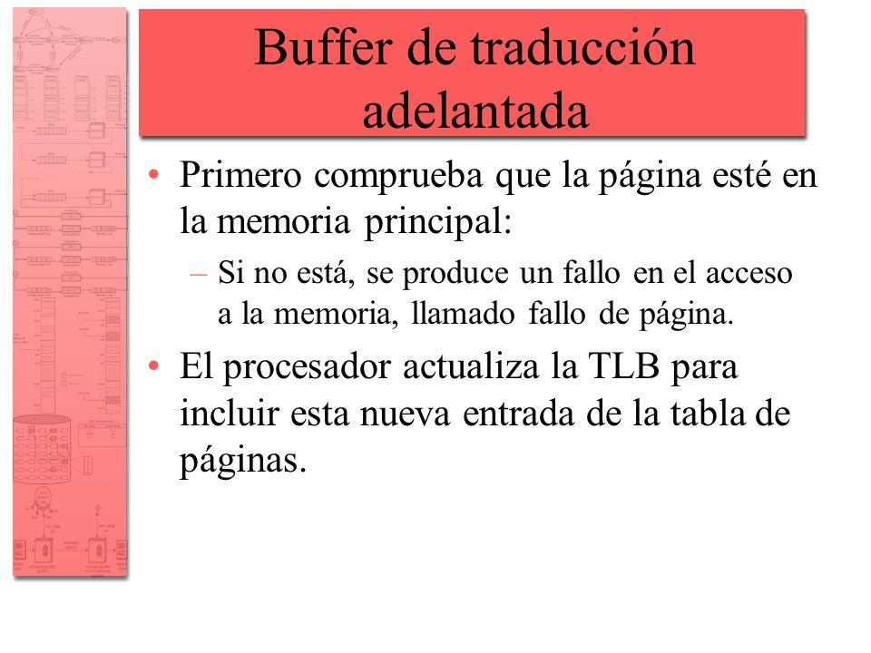 Buffer de traducción adelantada Primero comprueba que la página esté en la memoria principal: –Si no está, se produce un fallo en el acceso a la memor