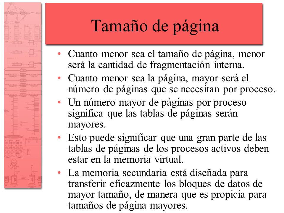 Tamaño de página Cuanto menor sea el tamaño de página, menor será la cantidad de fragmentación interna. Cuanto menor sea la página, mayor será el núme