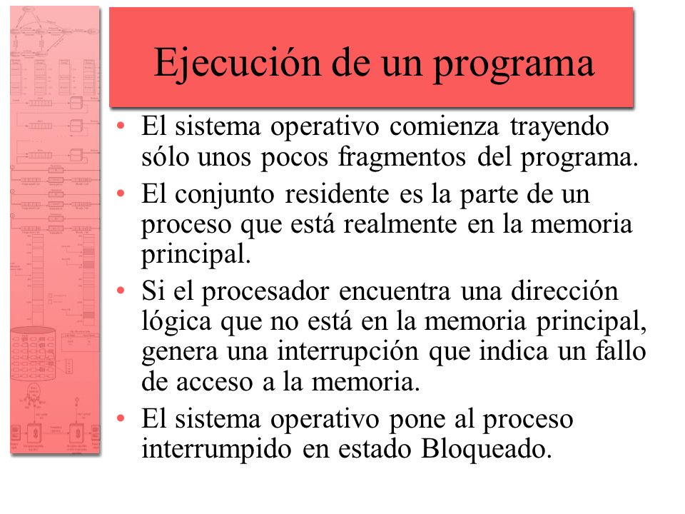 Ejecución de un programa El sistema operativo necesita traer a la memoria principal el fragmento del proceso que contiene la dirección lógica que provocó el fallo de acceso: –El sistema operativo emite una solicitud de Lectura de E/S al disco.
