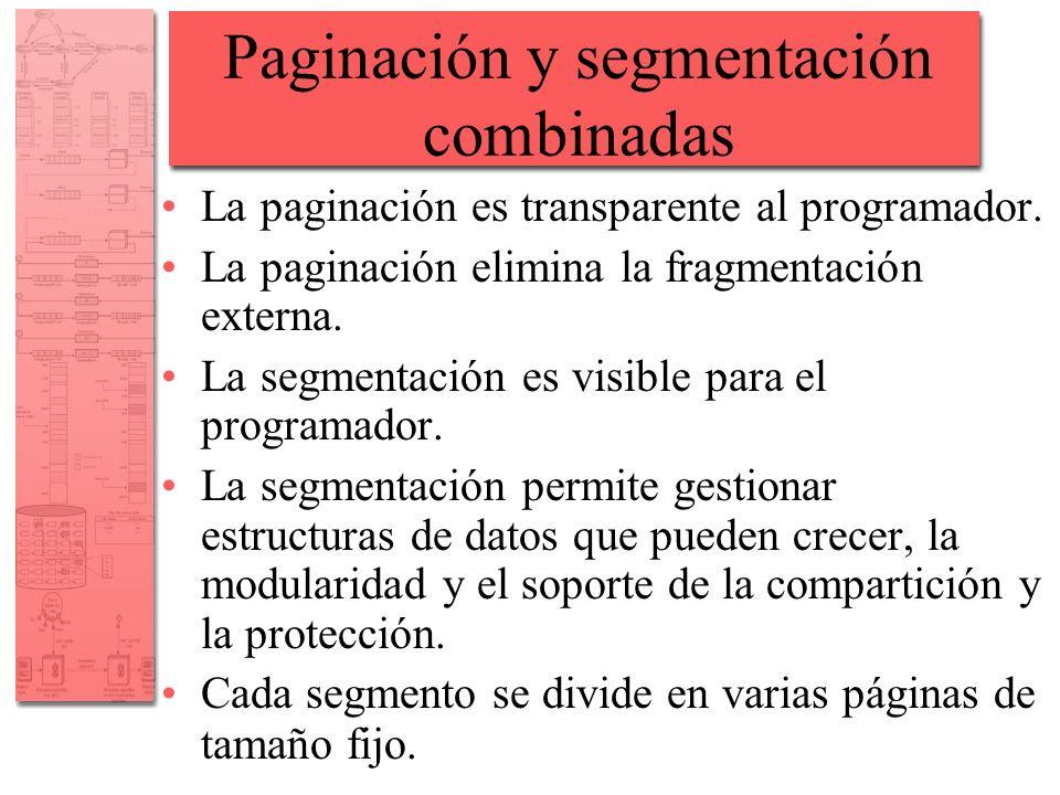 Paginación y segmentación combinadas La paginación es transparente al programador. La paginación elimina la fragmentación externa. La segmentación es