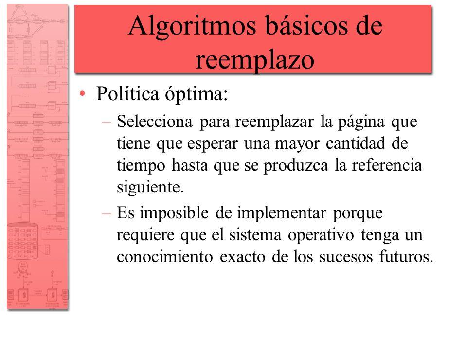 Algoritmos básicos de reemplazo Política óptima: –Selecciona para reemplazar la página que tiene que esperar una mayor cantidad de tiempo hasta que se