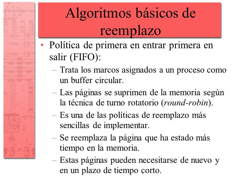 Algoritmos básicos de reemplazo Política de primera en entrar primera en salir (FIFO): –Trata los marcos asignados a un proceso como un buffer circula