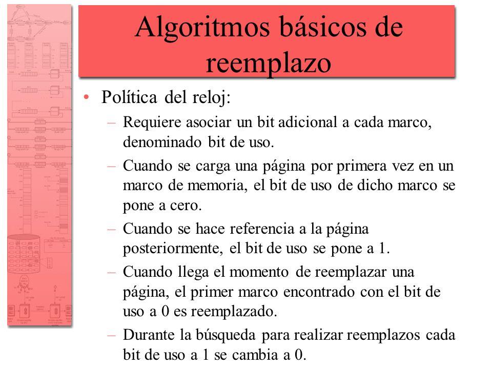 Algoritmos básicos de reemplazo Política del reloj: –Requiere asociar un bit adicional a cada marco, denominado bit de uso. –Cuando se carga una págin