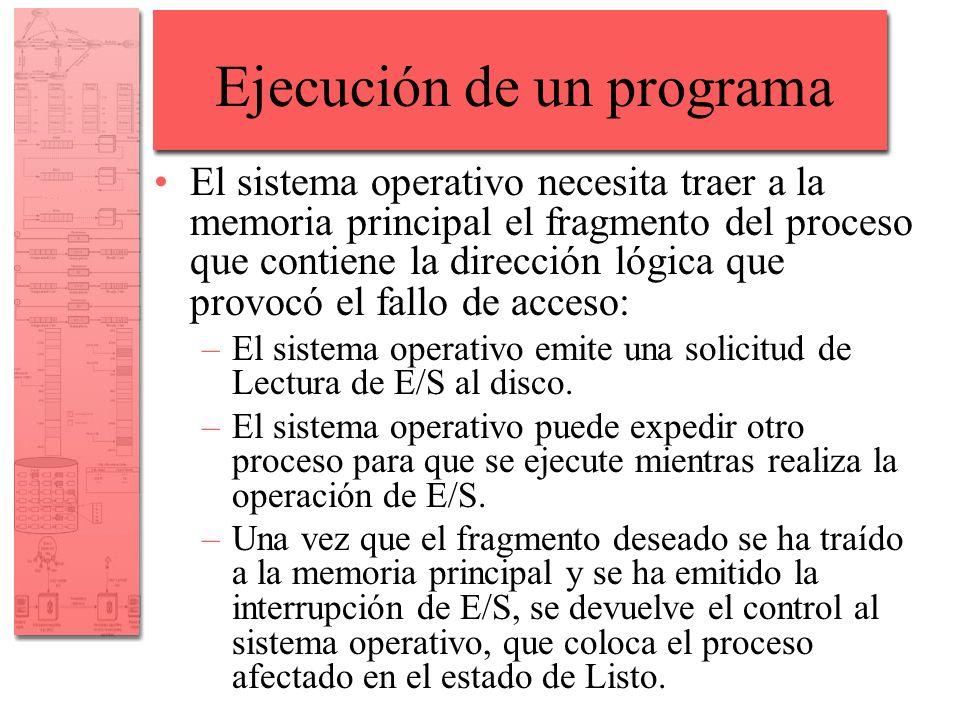 Ejecución de un programa El sistema operativo necesita traer a la memoria principal el fragmento del proceso que contiene la dirección lógica que prov