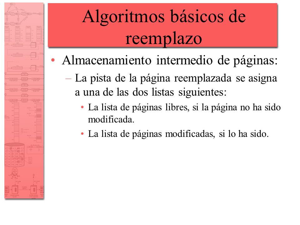 Algoritmos básicos de reemplazo Almacenamiento intermedio de páginas: –La pista de la página reemplazada se asigna a una de las dos listas siguientes: