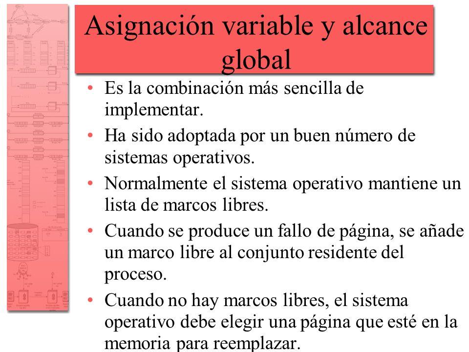 Asignación variable y alcance global Es la combinación más sencilla de implementar. Ha sido adoptada por un buen número de sistemas operativos. Normal