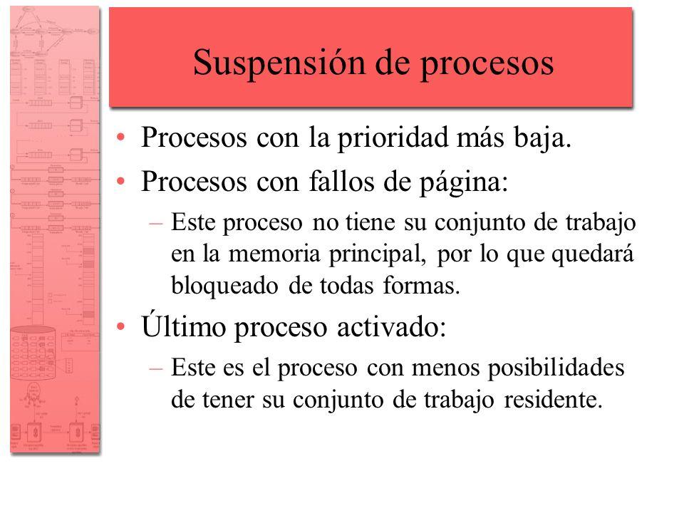 Suspensión de procesos Procesos con la prioridad más baja. Procesos con fallos de página: –Este proceso no tiene su conjunto de trabajo en la memoria