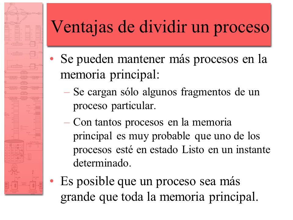 Ventajas de dividir un proceso Se pueden mantener más procesos en la memoria principal: –Se cargan sólo algunos fragmentos de un proceso particular. –