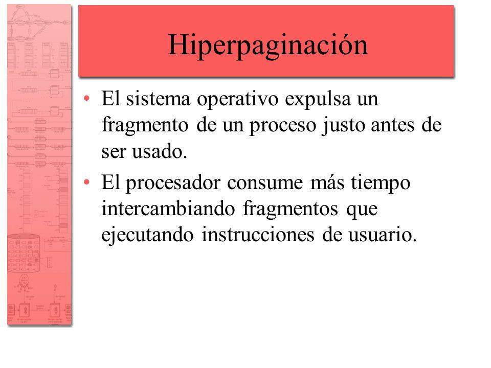 Hiperpaginación El sistema operativo expulsa un fragmento de un proceso justo antes de ser usado. El procesador consume más tiempo intercambiando frag