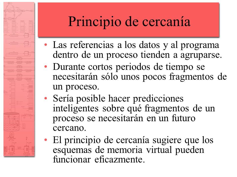 Principio de cercanía Las referencias a los datos y al programa dentro de un proceso tienden a agruparse. Durante cortos periodos de tiempo se necesit