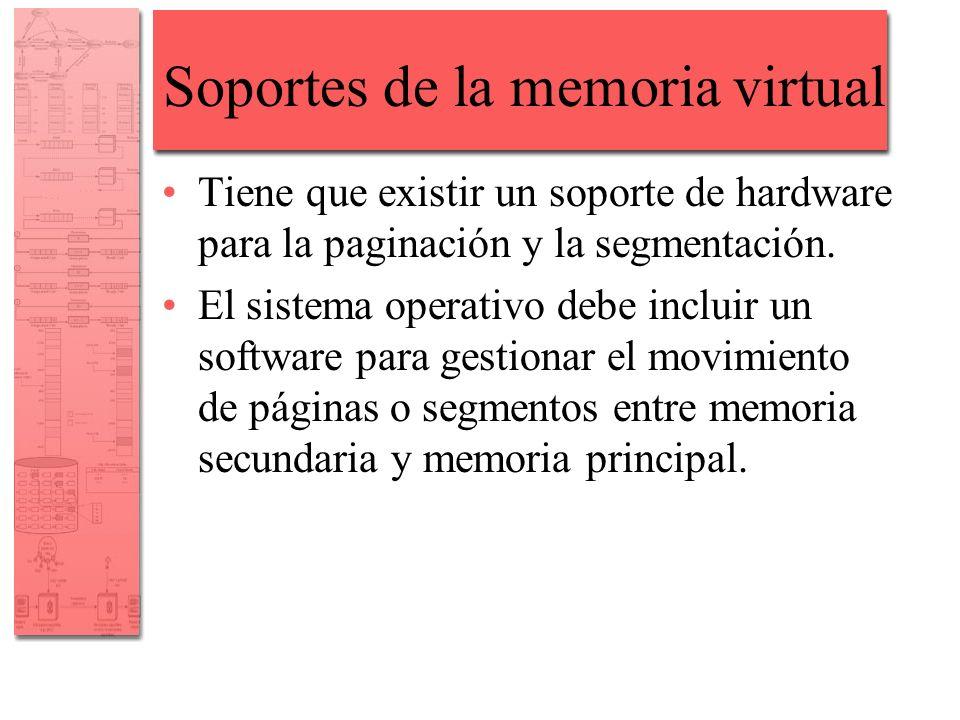 Soportes de la memoria virtual Tiene que existir un soporte de hardware para la paginación y la segmentación. El sistema operativo debe incluir un sof