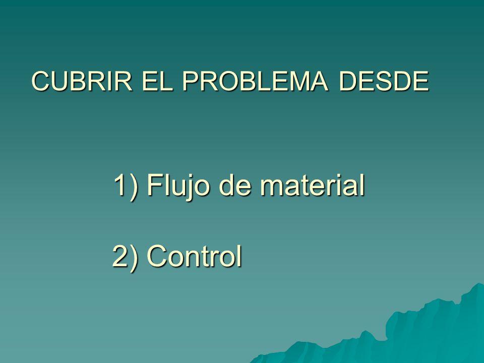CUBRIR EL PROBLEMA DESDE 1) Flujo de material 1) Flujo de material 2) Control