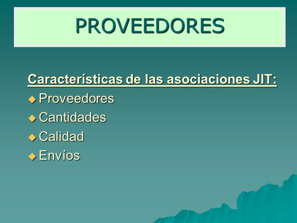 Características de las asociaciones JIT: Proveedores Proveedores Cantidades Cantidades Calidad Calidad Envíos Envíos PROVEEDORES