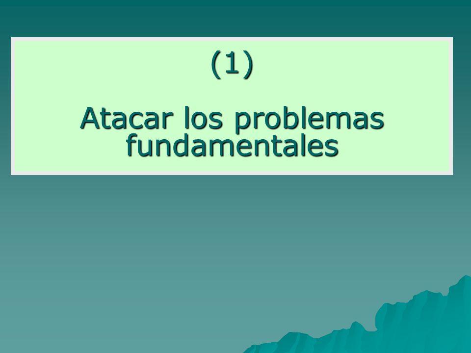 (1) Atacar los problemas fundamentales