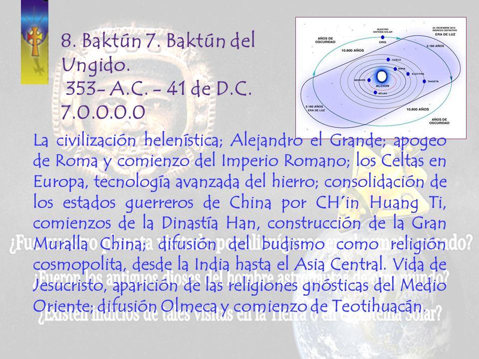 7. Baktún 6. Baktún de las Enseñanzas Mentales. 747-353 A.C. 6.0.0.0.0 Periodo de la primera oleada de mayas galácticos en Mesoamérica. El Imperio Per