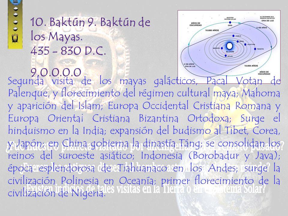 9. Baktún 8. Baktún de los Señores del Rojo y el Negro. Año 41 al 435. D.C. 8.0.0.0.0 Termina la construcción de la pirámide de Teotihuacán, consolida