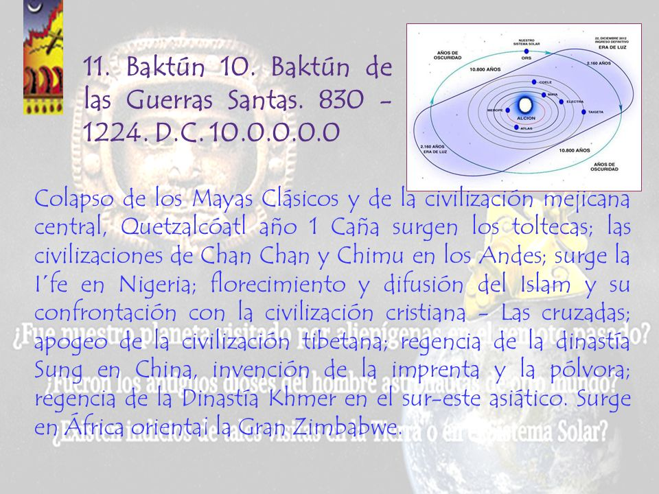 10. Baktún 9. Baktún de los Mayas. 435 - 830 D.C. 9.0.0.0.0 Segunda visita de los mayas galácticos, Pacal Votan de Palenque, y florecimiento del régim