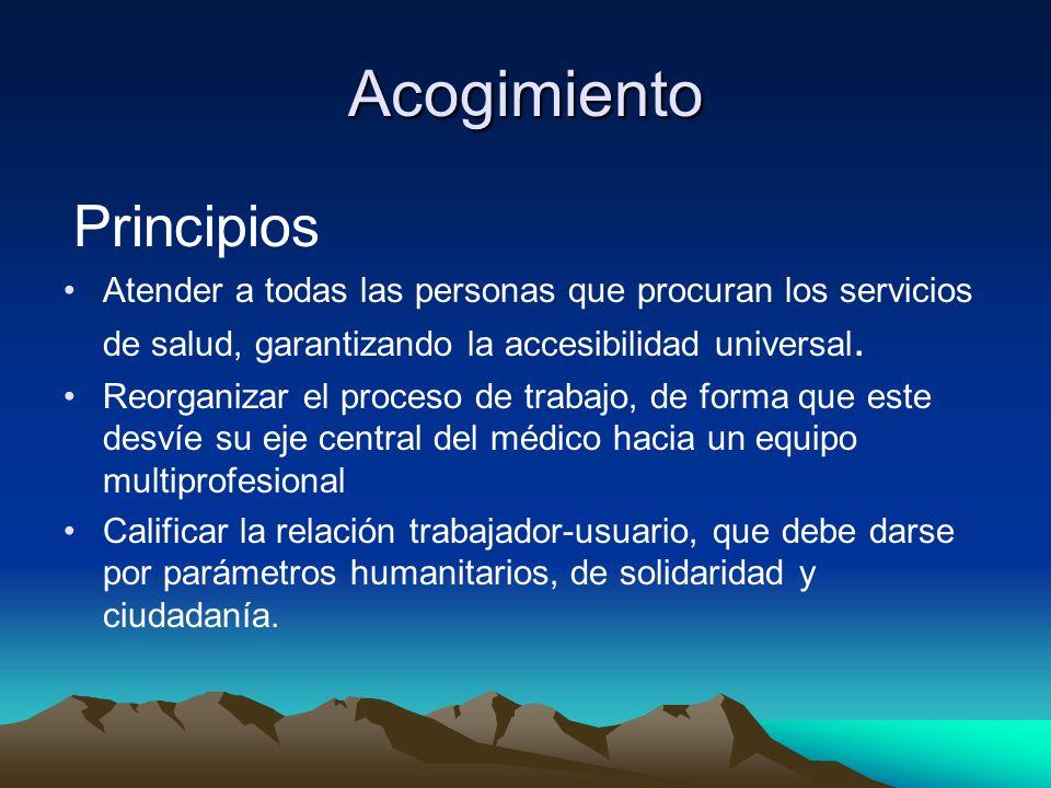 Acogimiento Principios Atender a todas las personas que procuran los servicios de salud, garantizando la accesibilidad universal. Reorganizar el proce