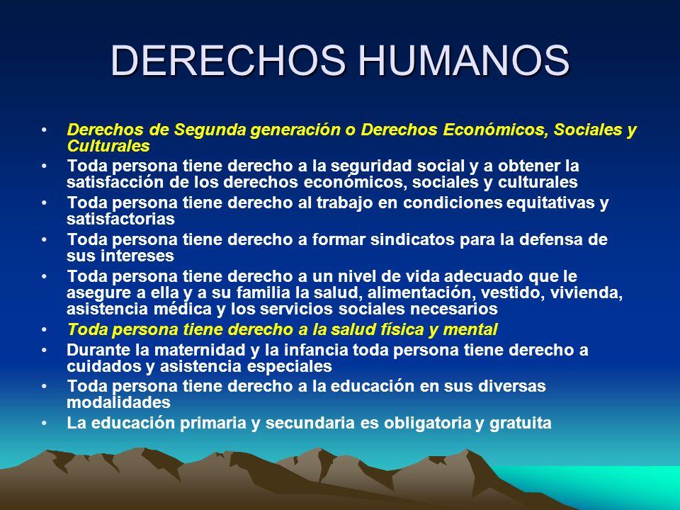 DERECHOS HUMANOS Derechos de Segunda generación o Derechos Económicos, Sociales y Culturales Toda persona tiene derecho a la seguridad social y a obte