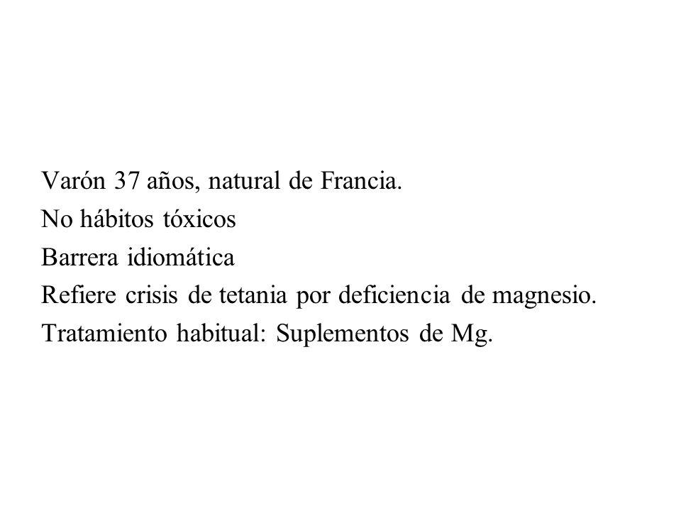 Varón 37 años, natural de Francia. No hábitos tóxicos Barrera idiomática Refiere crisis de tetania por deficiencia de magnesio. Tratamiento habitual: