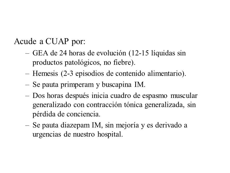 Acude a CUAP por: –GEA de 24 horas de evolución (12-15 líquidas sin productos patológicos, no fiebre). –Hemesis (2-3 episodios de contenido alimentari