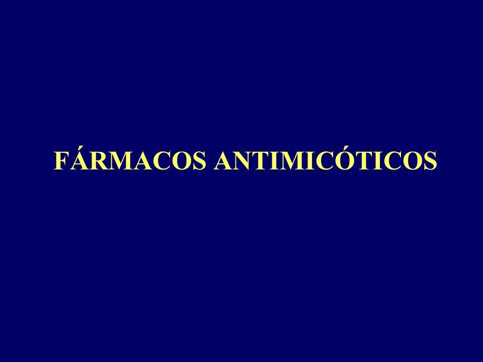 CLASIFICACIÓN Antibióticos Polienicos: Anfotericina B, Nistatina No polienicos: Griseofulvina Azoles Imidazoles: miconazol, Cetoconazol Triazoles: Fluconazol, Itraconazol, Voriconazol Pirimidinas fluoradas: Flucitosina Equinocandinas: Caspofungina Alilaminas: Terbinafina